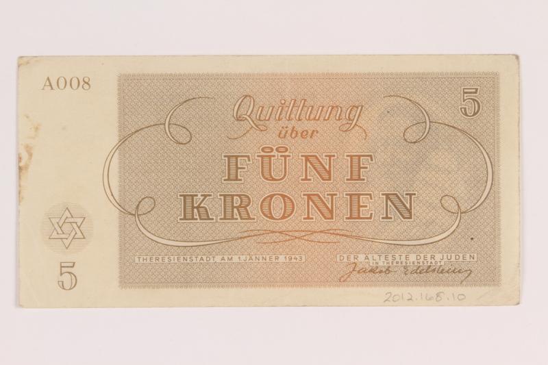 2012.168.10 back Theresienstadt ghetto-labor camp scrip, 5 kronen note