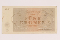 2012.168.10 back Theresienstadt ghetto-labor camp scrip, 5 kronen note  Click to enlarge