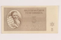 2012.168.11 front Theresienstadt ghetto-labor camp scrip, 5 kronen note  Click to enlarge