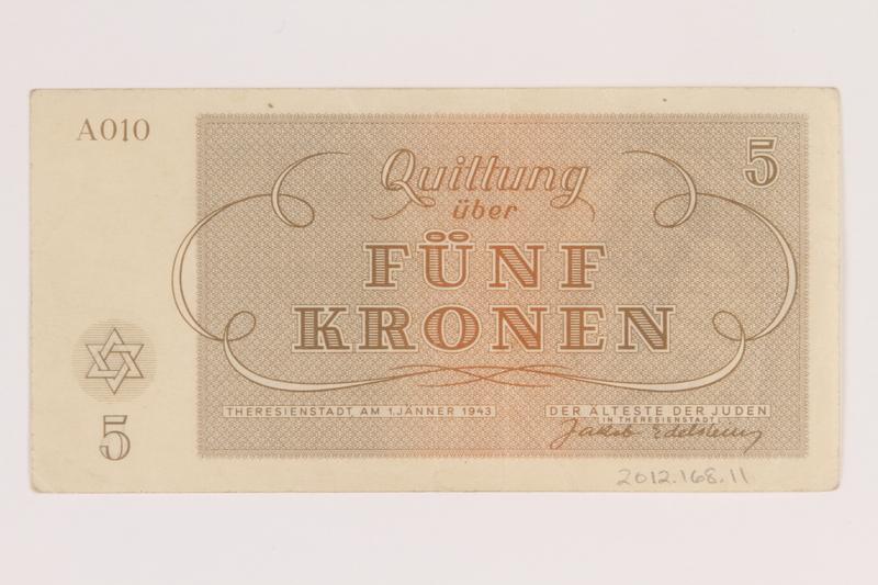 2012.168.11 back Theresienstadt ghetto-labor camp scrip, 5 kronen note