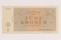 2012.168.11 back Theresienstadt ghetto-labor camp scrip, 5 kronen note  Click to enlarge
