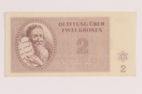 2012.168.12 front Theresienstadt ghetto-labor camp scrip, 2 kronen note  Click to enlarge