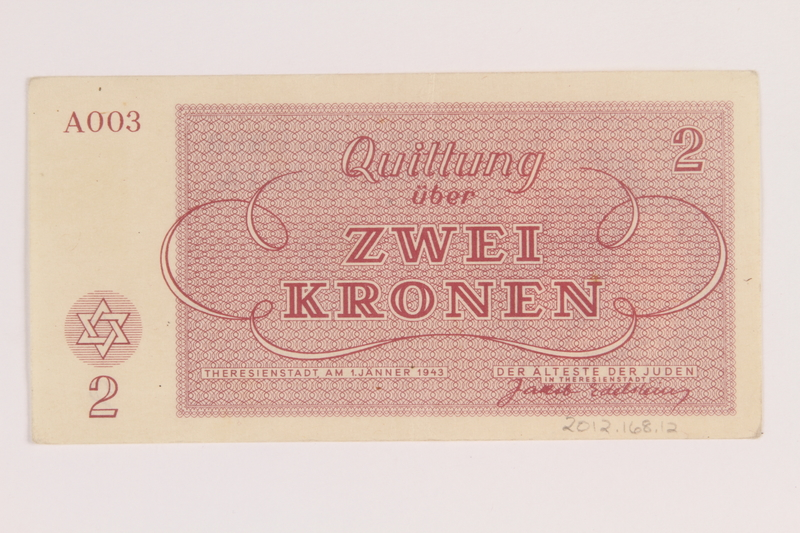 2012.168.12 back Theresienstadt ghetto-labor camp scrip, 2 kronen note