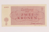 2012.168.12 back Theresienstadt ghetto-labor camp scrip, 2 kronen note  Click to enlarge