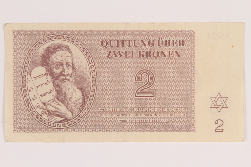 2012.168.13 front Theresienstadt ghetto-labor camp scrip, 2 kronen note