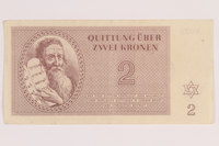 2012.168.13 front Theresienstadt ghetto-labor camp scrip, 2 kronen note  Click to enlarge