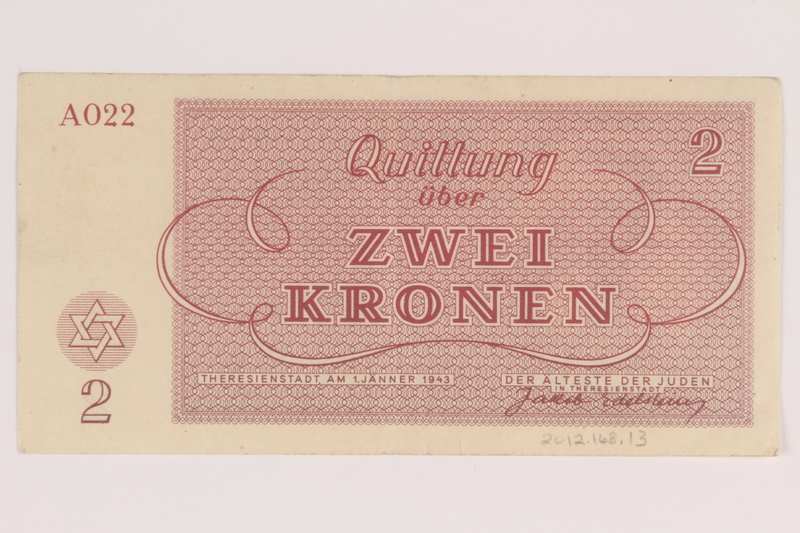 2012.168.13 back Theresienstadt ghetto-labor camp scrip, 2 kronen note