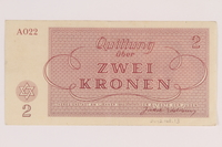 2012.168.13 back Theresienstadt ghetto-labor camp scrip, 2 kronen note  Click to enlarge