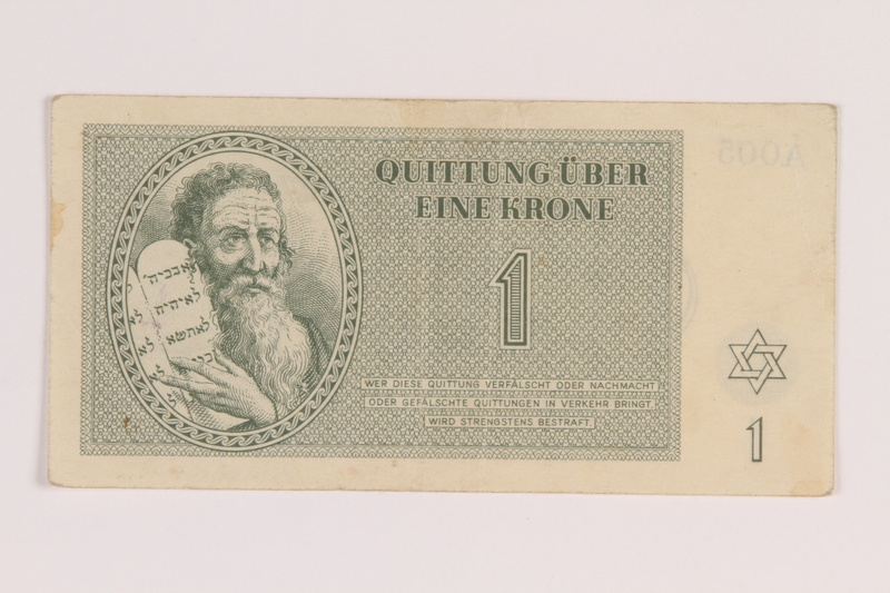 2012.168.14 front Theresienstadt ghetto-labor camp scrip, 1 krone note