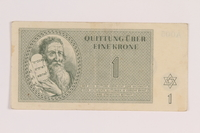 2012.168.14 front Theresienstadt ghetto-labor camp scrip, 1 krone note  Click to enlarge