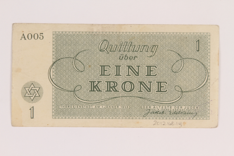 2012.168.14 back Theresienstadt ghetto-labor camp scrip, 1 krone note