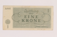 2012.168.14 back Theresienstadt ghetto-labor camp scrip, 1 krone note  Click to enlarge