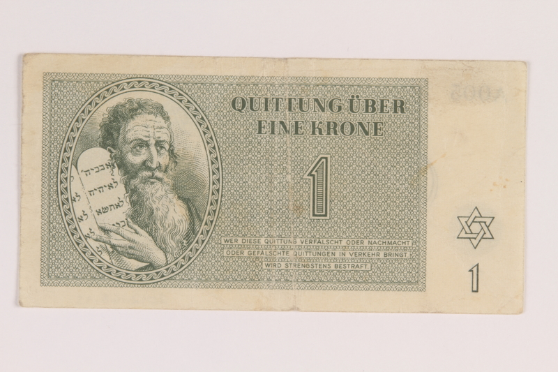 2012.168.15 front Theresienstadt ghetto-labor camp scrip, 1 krone note
