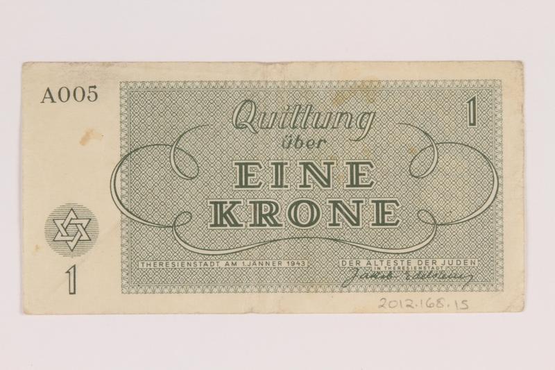2012.168.15 back Theresienstadt ghetto-labor camp scrip, 1 krone note