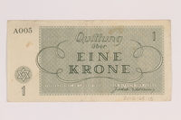 2012.168.15 back Theresienstadt ghetto-labor camp scrip, 1 krone note  Click to enlarge