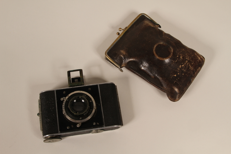 2012.187.2_a-b front Korelle 3x4 camera and a brown leather pouch used by a member of the Czech resistance