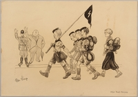 1991.182.8 front Anti-Nazi drawing published in the PM newspaper  Click to enlarge