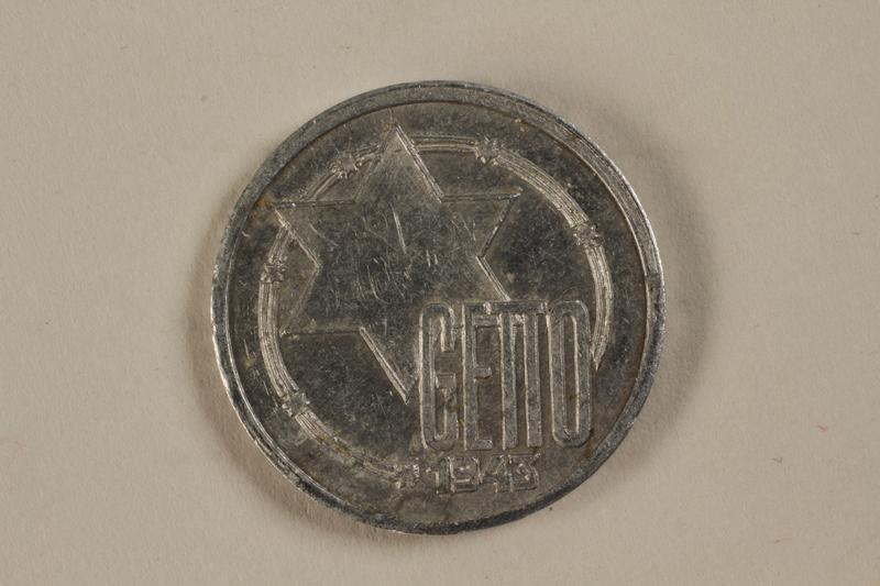 1991.188.2 front Łódź (Litzmannstadt) ghetto scrip, 5 mark coin