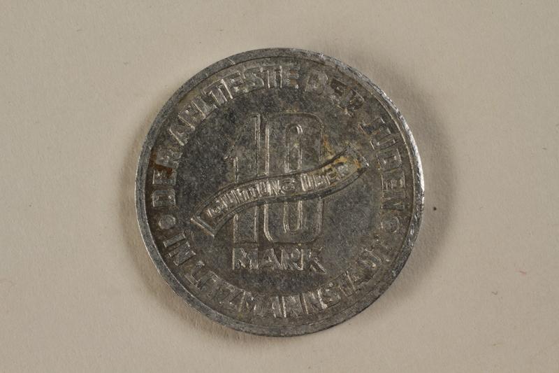 1991.188.2 back Łódź (Litzmannstadt) ghetto scrip, 5 mark coin