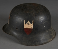 2010.507.2 left side Wehrmacht helmet acquired by a US soldier  Click to enlarge