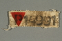 Red triangle badge with the letter P worn by a concentration camp inmate