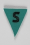 Unused green triangle concentration camp prisoner patch with a black letter S found by US forces