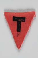 1991.198.7 front Unused pink triangle concentration camp prisoner patch with a black letter T found by US forces  Click to enlarge
