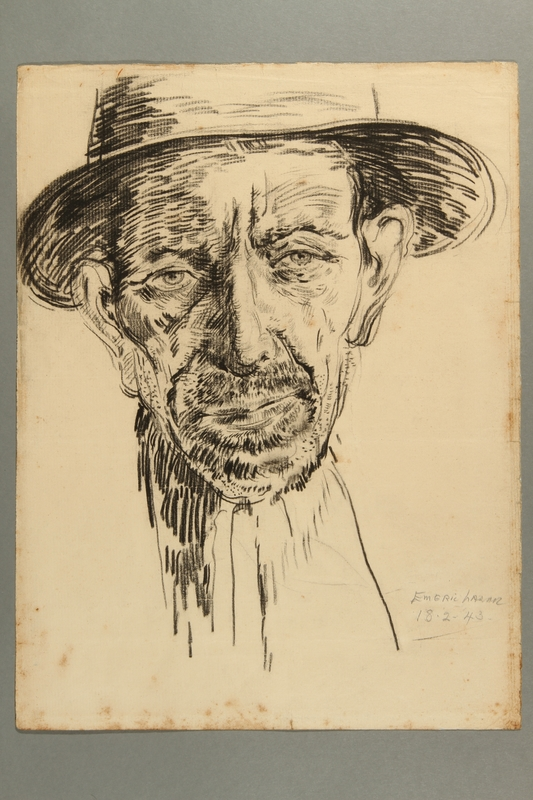 2012.245.2 front Portrait of an old man wearing a hat created by a Hungarian Jewish musician in Drancy internment camp