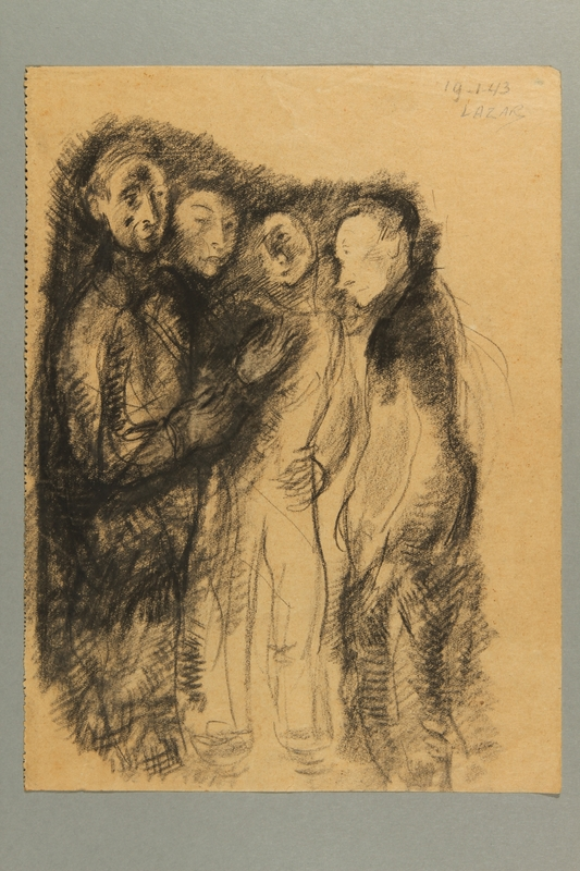 2012.245.6 front Expressionistic drawing of four men standing together created by a Hungarian Jewish musician in Drancy