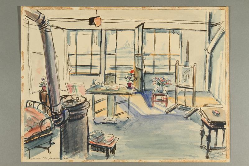 2012.245.7 front Watercolor sketch of his postwar Parisian studio created by a Hungarian Jewish musician
