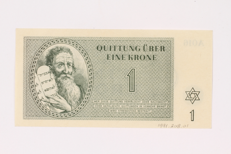 1991.208.1 front Theresienstadt ghetto-labor camp scrip, 1 krone note