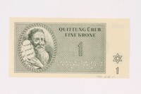 1991.208.1 front Theresienstadt ghetto-labor camp scrip, 1 krone note  Click to enlarge
