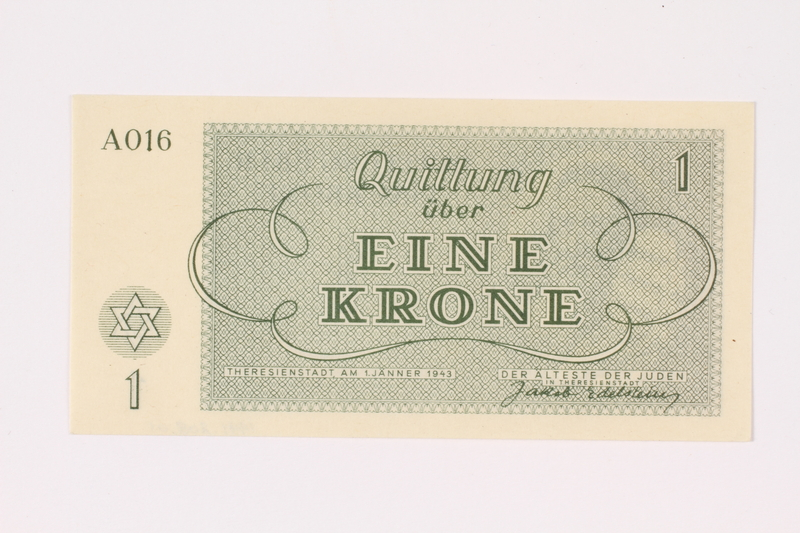1991.208.1 back Theresienstadt ghetto-labor camp scrip, 1 krone note