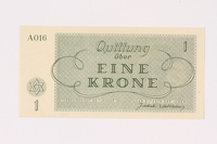 1991.208.1 back Theresienstadt ghetto-labor camp scrip, 1 krone note  Click to enlarge