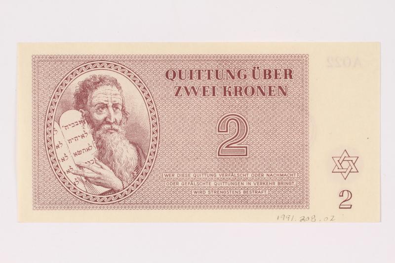 1991.208.2 front Theresienstadt ghetto-labor camp scrip, 2 kronen note
