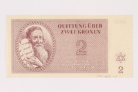 1991.208.2 front Theresienstadt ghetto-labor camp scrip, 2 kronen note  Click to enlarge
