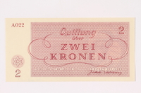 1991.208.2 back Theresienstadt ghetto-labor camp scrip, 2 kronen note  Click to enlarge