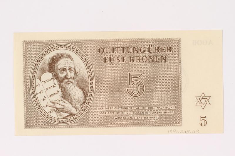 1991.208.3 front Theresienstadt ghetto-labor camp scrip, 5 kronen note