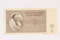 1991.208.3 front Theresienstadt ghetto-labor camp scrip, 5 kronen note  Click to enlarge