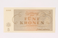 1991.208.3 back Theresienstadt ghetto-labor camp scrip, 5 kronen note  Click to enlarge