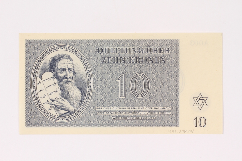 1991.208.4 front Theresienstadt ghetto-labor camp scrip, 10 kronen note