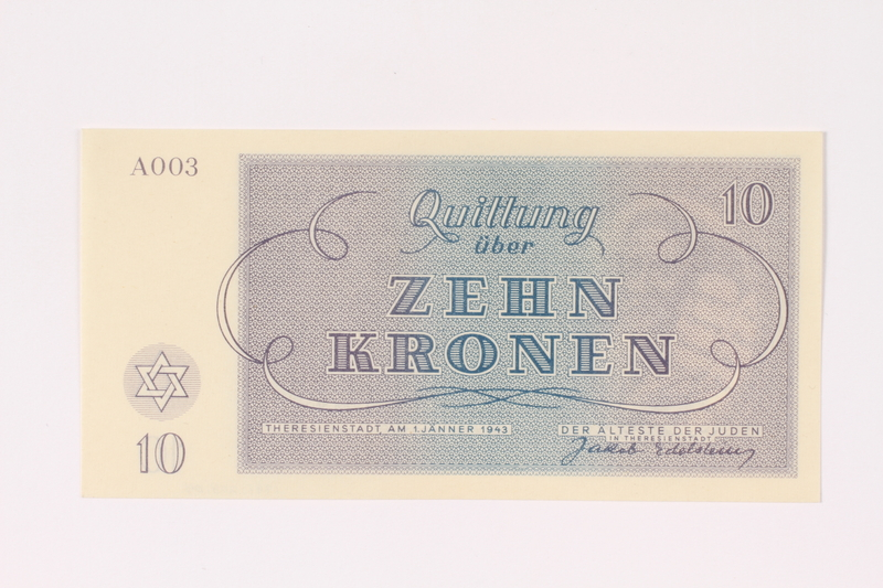 1991.208.4 back Theresienstadt ghetto-labor camp scrip, 10 kronen note
