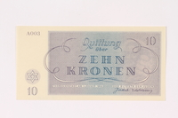 1991.208.4 back Theresienstadt ghetto-labor camp scrip, 10 kronen note  Click to enlarge