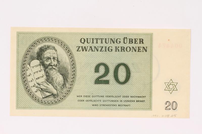 1991.208.5 front Theresienstadt ghetto-labor camp scrip, 20 kronen note