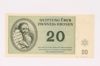 1991.208.5 front Theresienstadt ghetto-labor camp scrip, 20 kronen note  Click to enlarge