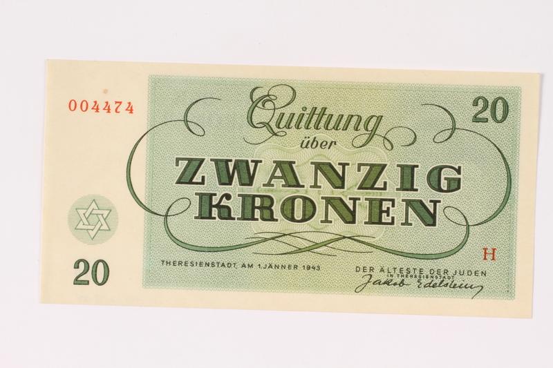 1991.208.5 back Theresienstadt ghetto-labor camp scrip, 20 kronen note