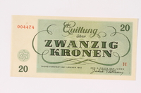 1991.208.5 back Theresienstadt ghetto-labor camp scrip, 20 kronen note  Click to enlarge