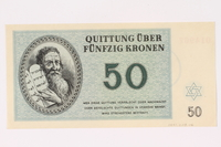 1991.208.6 front Theresienstadt ghetto-labor camp scrip, 50 kronen note  Click to enlarge