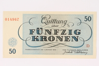 1991.208.6 back Theresienstadt ghetto-labor camp scrip, 50 kronen note  Click to enlarge