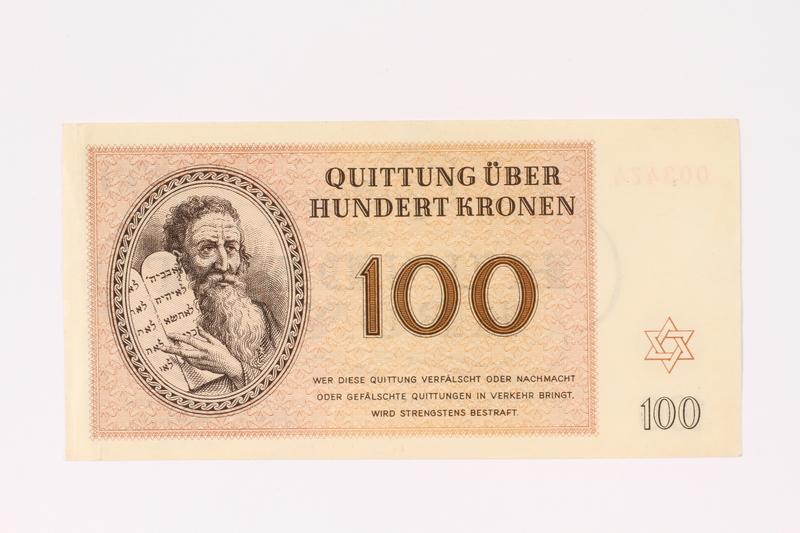 1991.208.7 front Theresienstadt ghetto-labor camp scrip, 100 kronen note